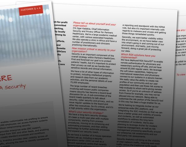 PARTNERS HEALTHCARE: Boosting visibility and insights with RSA Security Analytics, Archer and SecurID®